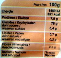 Riz Arborio spécial Risotto - Informations nutritionnelles - fr