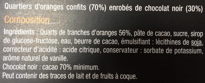 Quartiers D'orange Confits Enrobés De Chocolat Noir, Poids Total 200 Grammes, Marque Carrefour Sélection - Ingredienti - fr