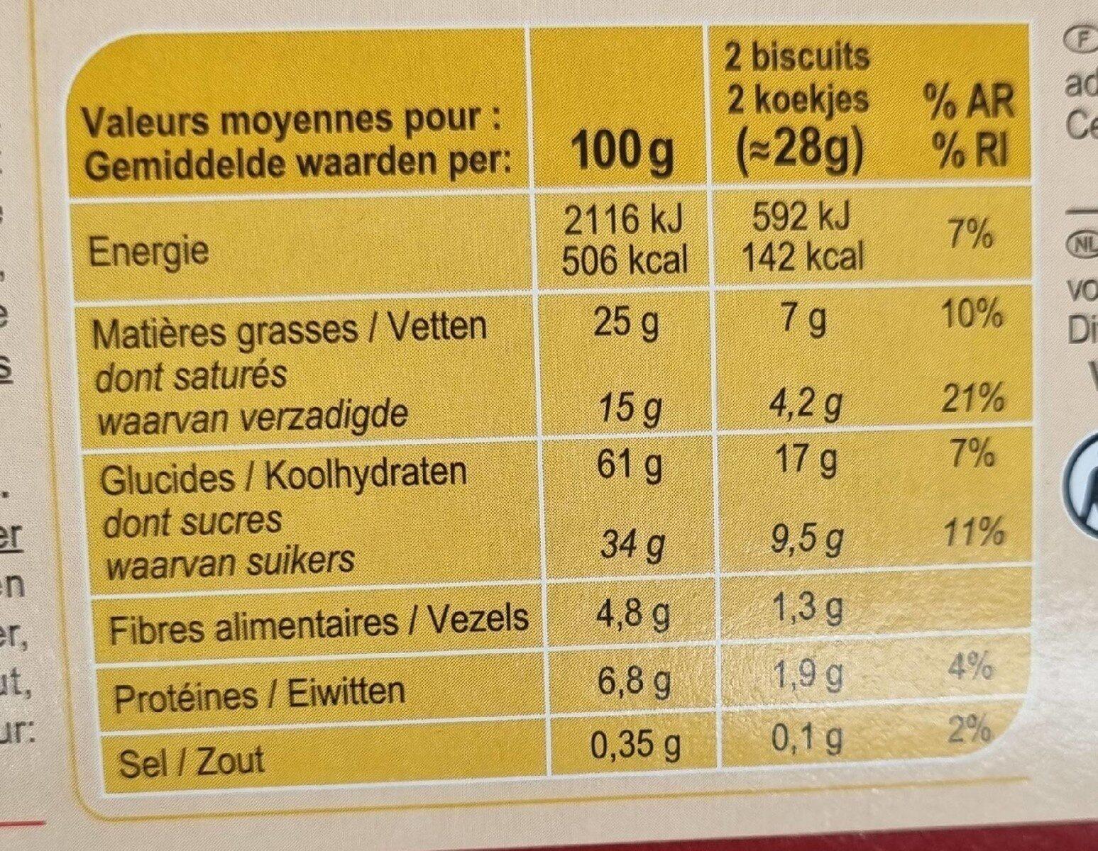 Biscuits tablette chocolat noir - Informations nutritionnelles - fr