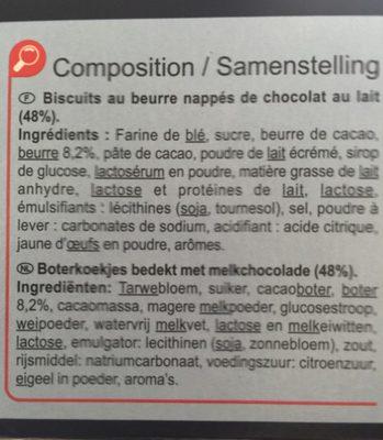 Biscuits au beurre nappés de chocolat au lait - Ingrédients - fr