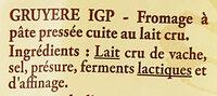 Gruyère de France au lait cru - Ingrédients - fr