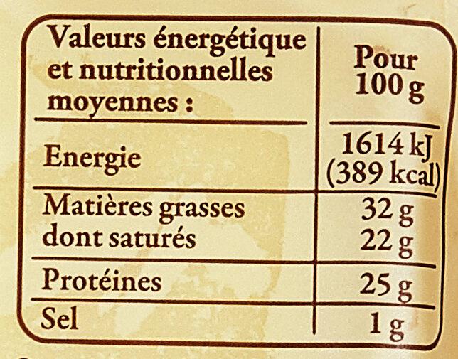 Gruyère de France au lait cru - Informations nutritionnelles - fr