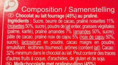 Chocolat au lait fourrage praliné - Ingrediënten - fr