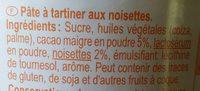 Pâte à tartiner aux noisettes - Ingrédients - fr