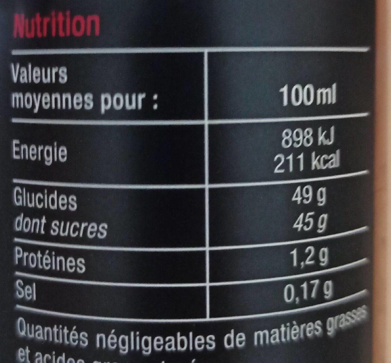 Douceur de vinaigre balsamique de Modène - Informations nutritionnelles - fr