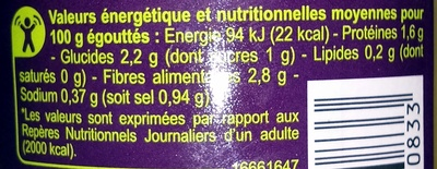 Haricots beurre extra- fins - Informations nutritionnelles - fr