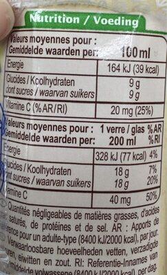 Jus d'orange Bio - Valori nutrizionali - fr