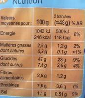 Pain de mie Sans Croûte Nature - Valori nutrizionali - fr