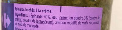 Épinards hachés à la Crème - Ingredients - fr