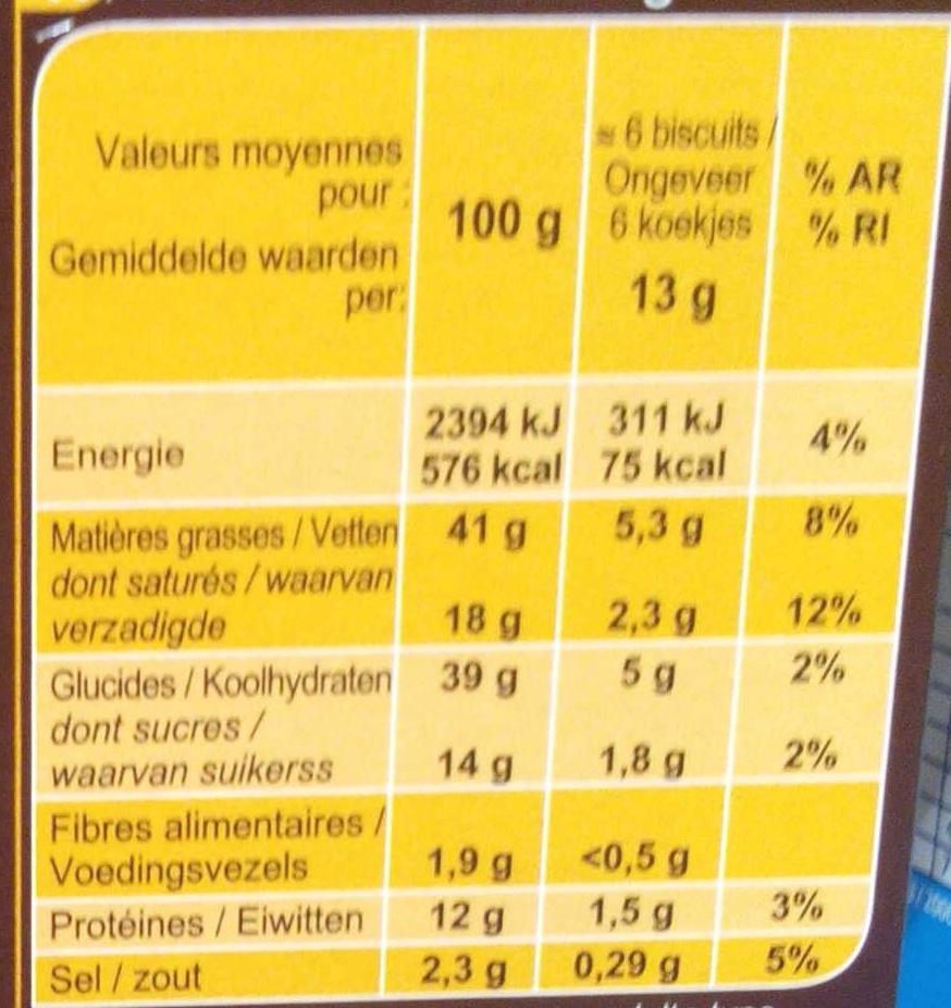 Crêpettes - Voedingswaarden - fr