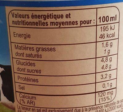 Lait Demi-Écrémé Stérilisé UHT - Valori nutrizionali - fr