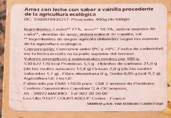 Riz au lait vanille - Ingredientes - es