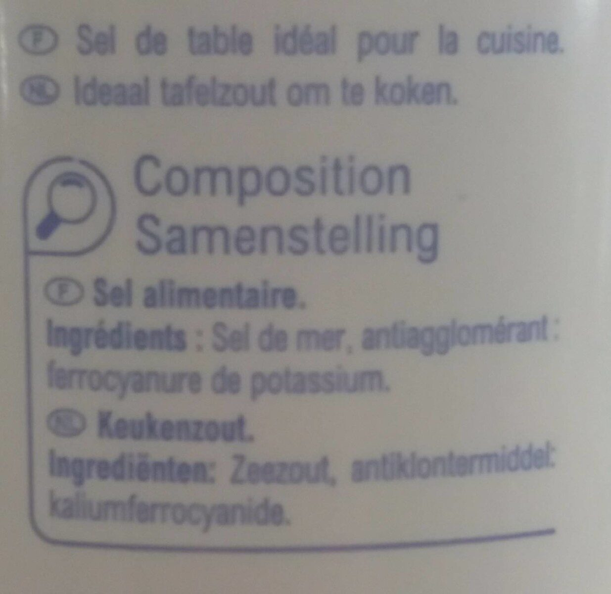 Sel de mer fin - Informations nutritionnelles - fr