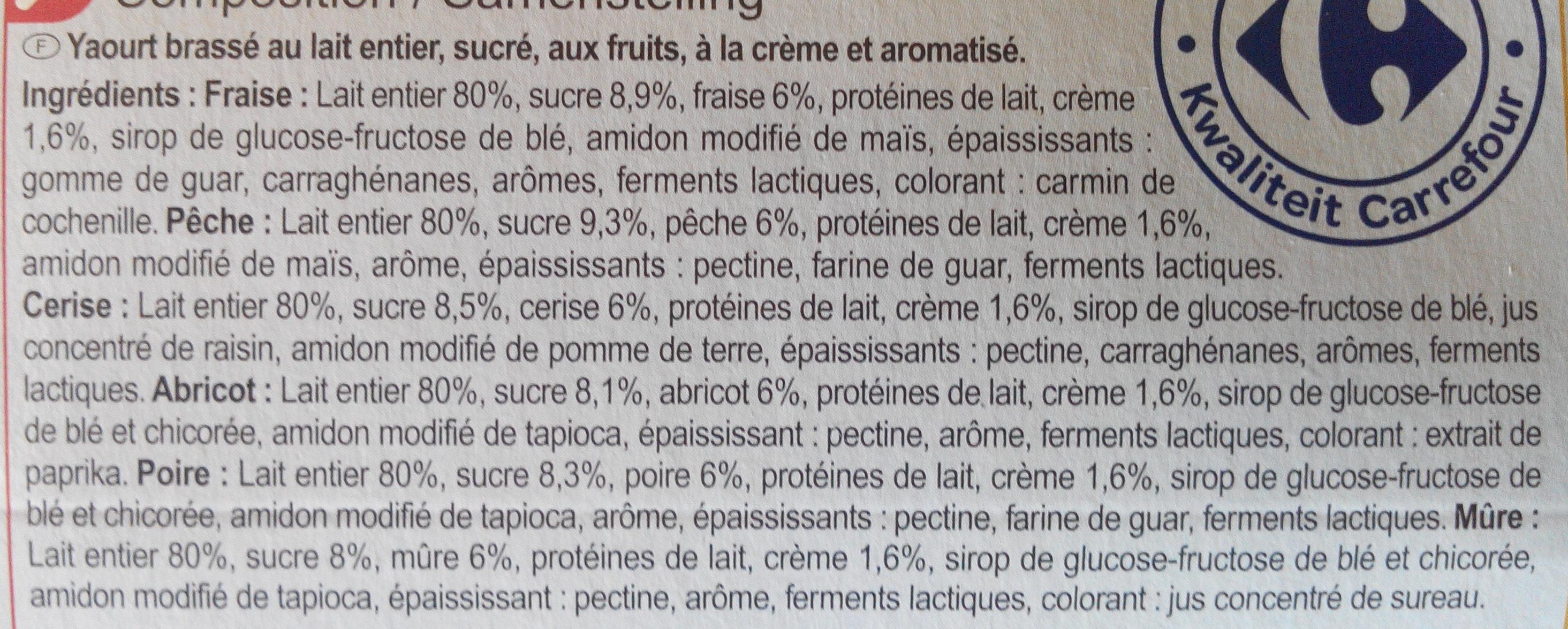 Yaourt & fruits (Fraise, pêche, abricot, cerise, mûre, poire) 16 Pots - Ingrediënten