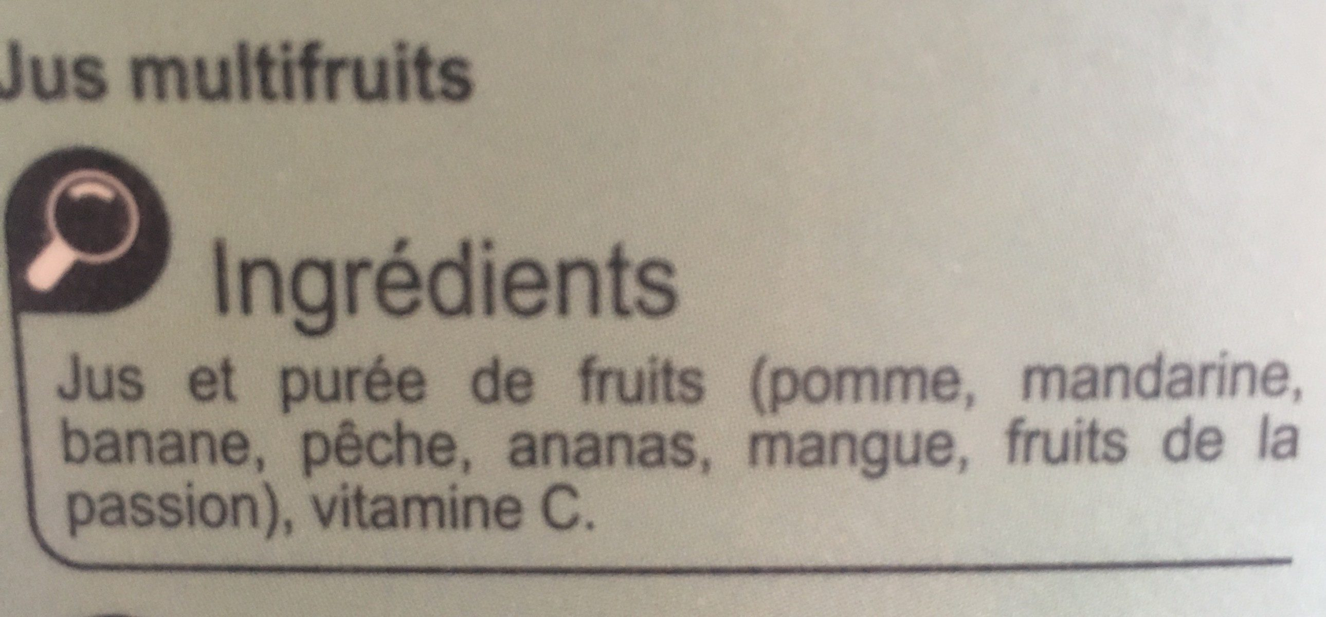 Multifruits, 100 % Pur Fruit Pressé - Ingrédients - fr