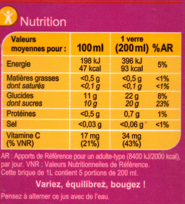 Multifruits, 100 % Pur Fruit Pressé - Informations nutritionnelles - fr