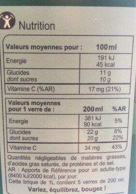 Multifruits, 100 % Pur Fruit Pressé - Voedingswaarden - fr