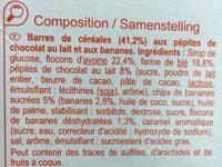 Barres céréales Chocolat Banane - Ingredients