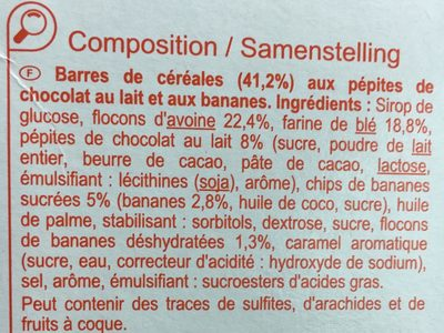 Barres céréales Chocolat Banane - Ingredients