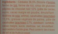 Barres céréalières au chocolat et aux cacahuètes - Ingrediënten - fr
