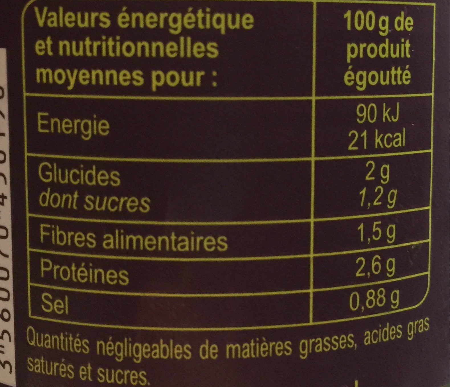 Pointes  d'asperges  vertes - Informació nutricional - fr