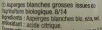 Asperges blanches Bio Carrefour - Ingrediënten - fr