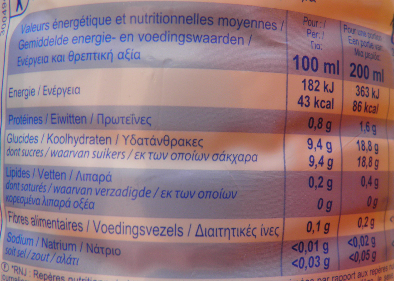 4 Agrumes 100% Fruits Pressés - Nutrition facts