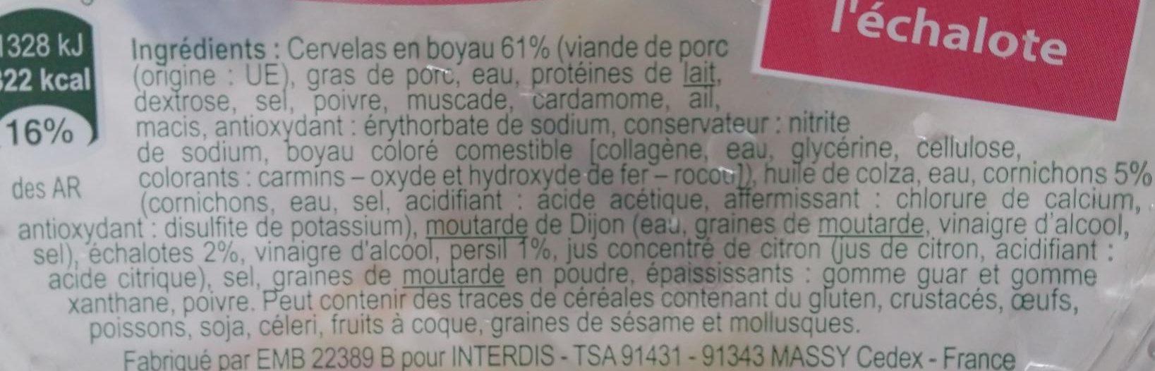 Cervelas sauce à l'Échalote - Ingrediënten - fr