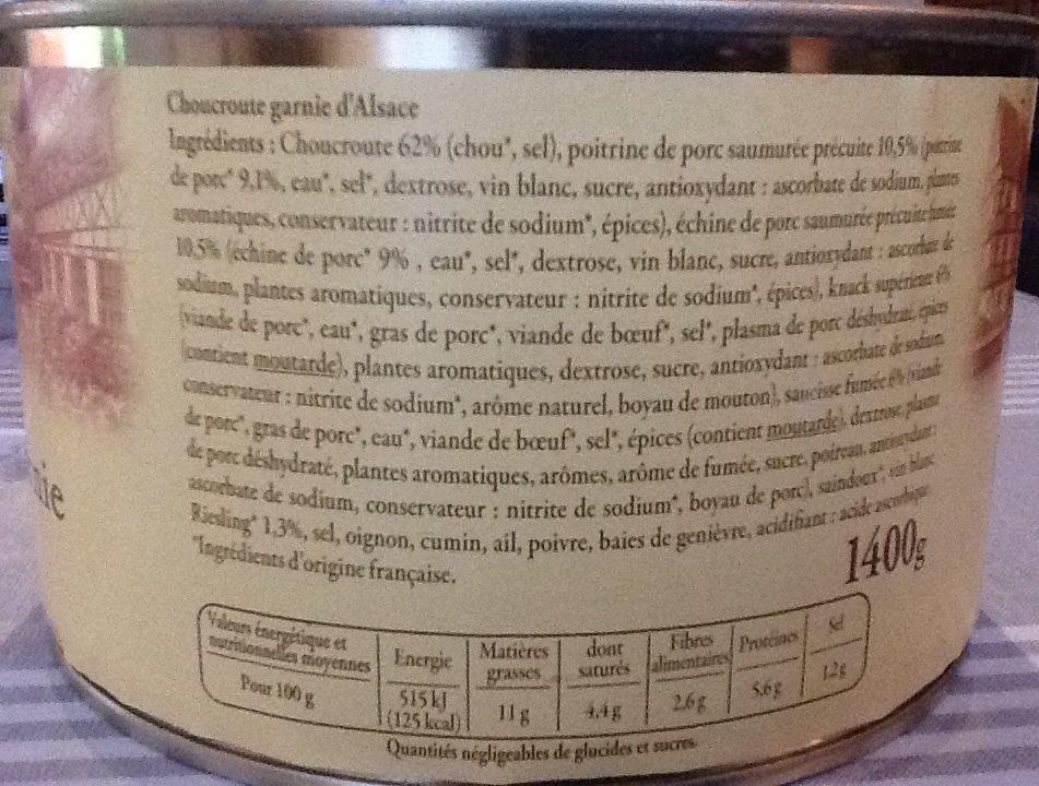 Choucroute Garnie 1.4KG Reflets De France - Ingredients