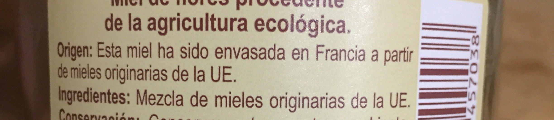 Miel de flora ecologica - Ingredientes