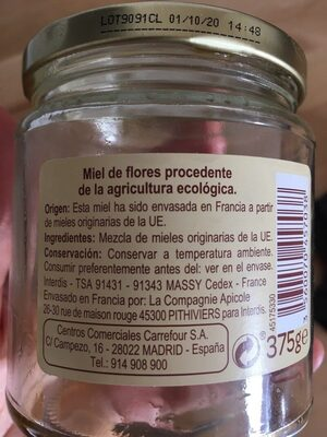Miel de flora ecologica - Información nutricional