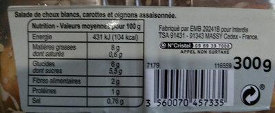 Coleslaw Duo croquant - Voedingswaarden - fr