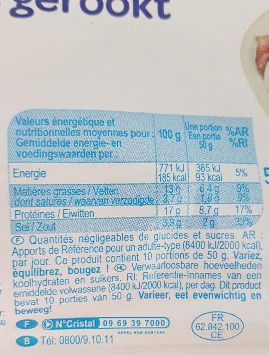 Filets de Hareng Fumés au Naturel - Valori nutrizionali - fr