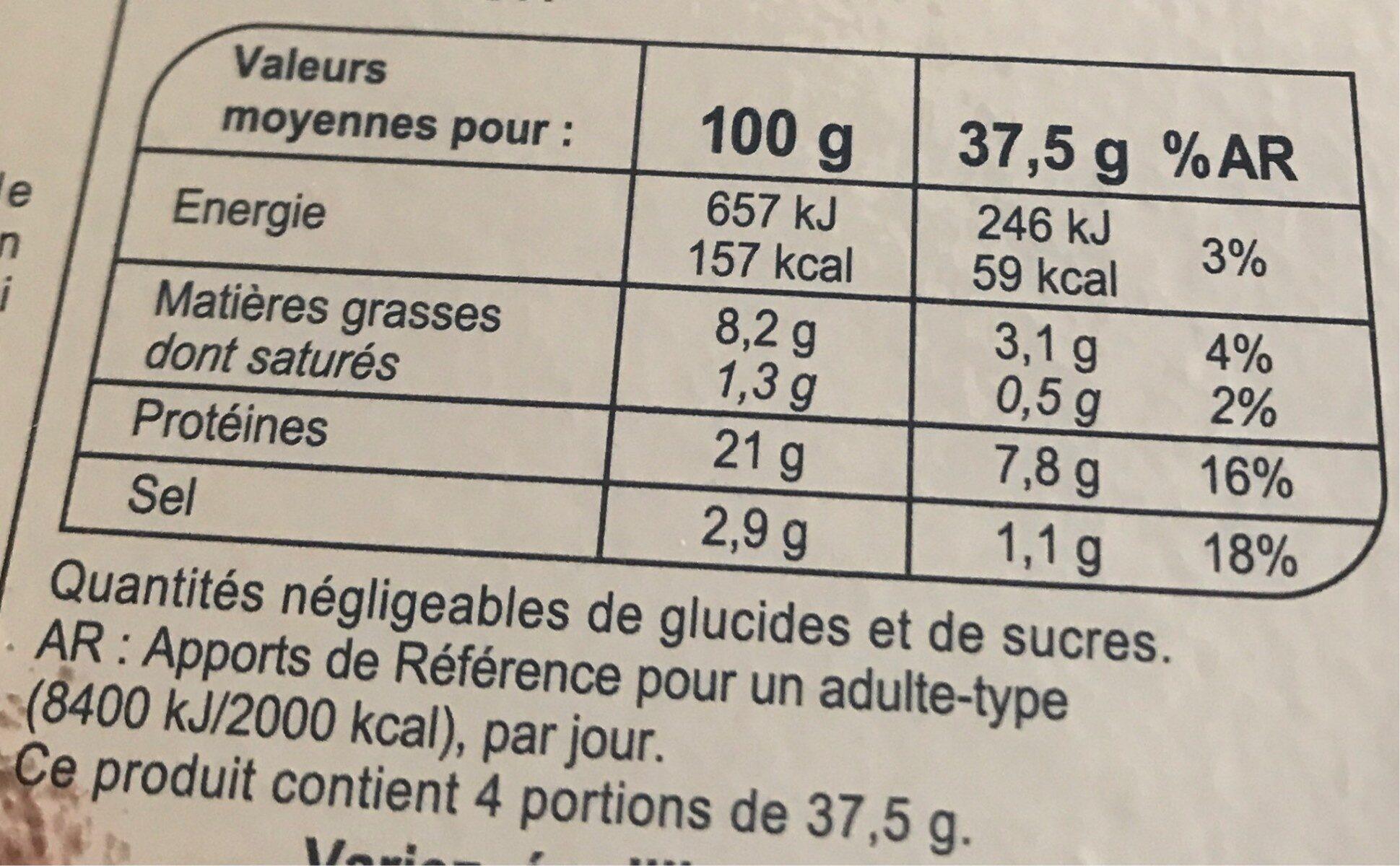 Truite fumée élevée en mer - Informations nutritionnelles - fr