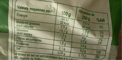 Trio de choux en fleurettes- Surgelé - Nutrition facts - fr