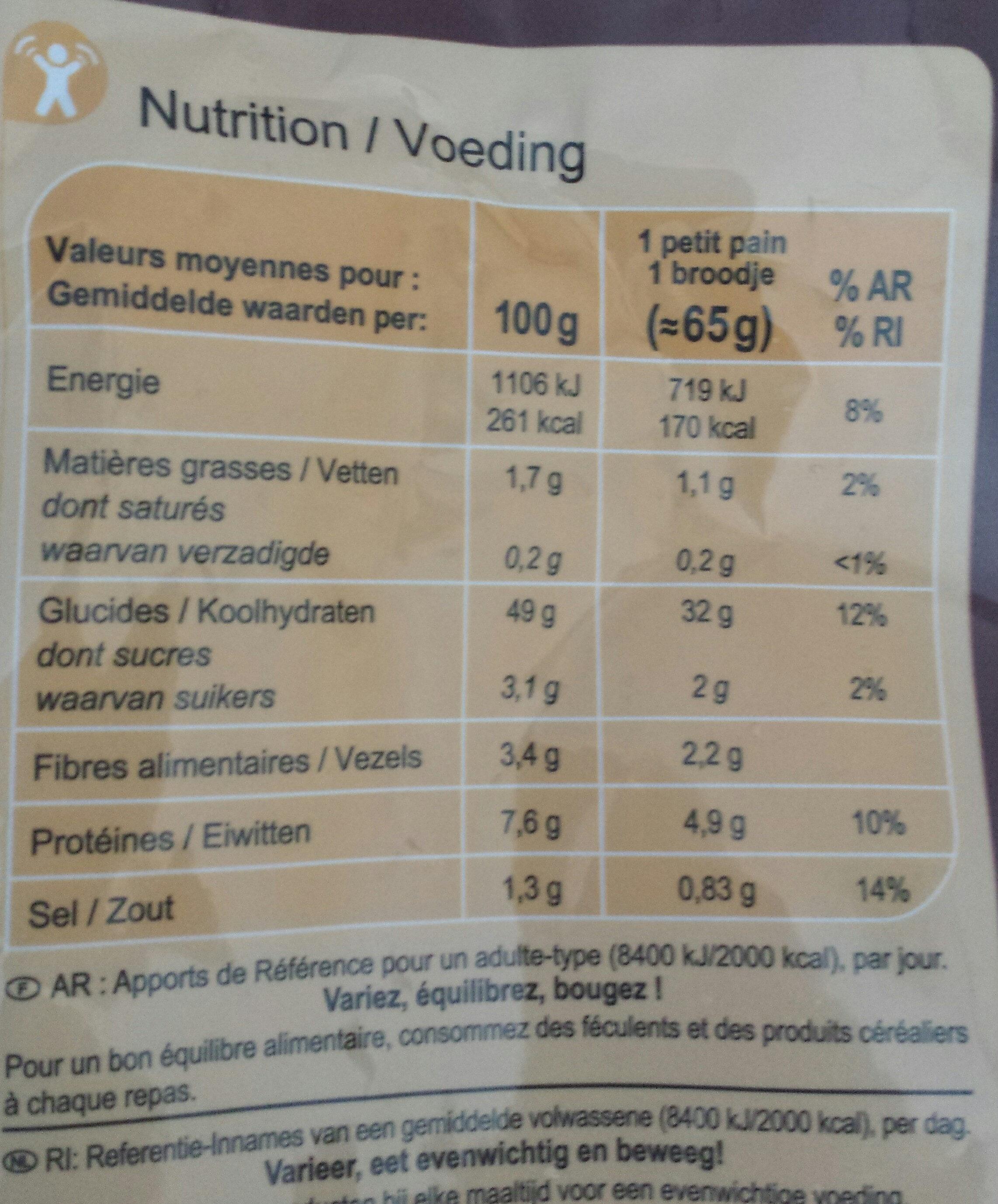 Petits pains spéciaux précuits - Voedingswaarden - fr