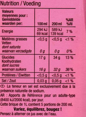 Raisin Litchi, 100 % Purs Fruits Pressés - Voedingswaarden - fr