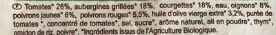 Ratatouille cuisinée à l'huile d'olive vierge extra 3,2% Bio - Ingrédients - fr