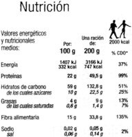 """Garbanzos cocidos congelados """"Carrefour"""" - Información nutricional"""