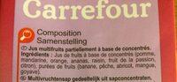 Multifruits, Jus à base de concentrés - Ingrediënten - fr