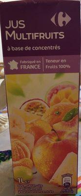 Multifruits, Jus à base de concentrés - Nutrition facts - fr