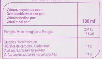 Multifruits - Valori nutrizionali - fr