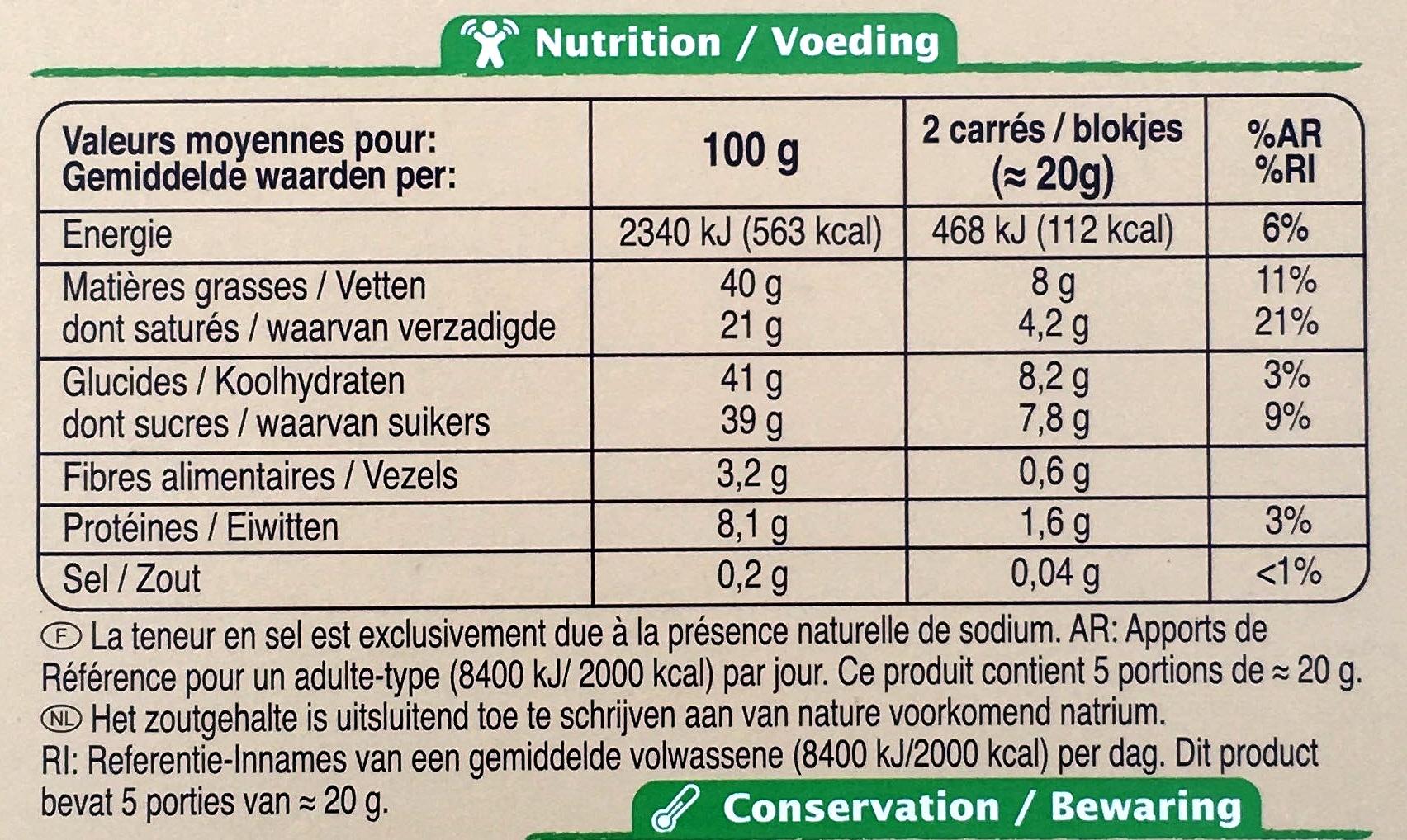 Chocolat au lait - Voedingswaarden - fr