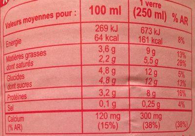 Lait frais ENTIER - Valori nutrizionali - fr