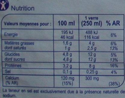 Lait frais demi-écrémé - Informazioni nutrizionali - fr
