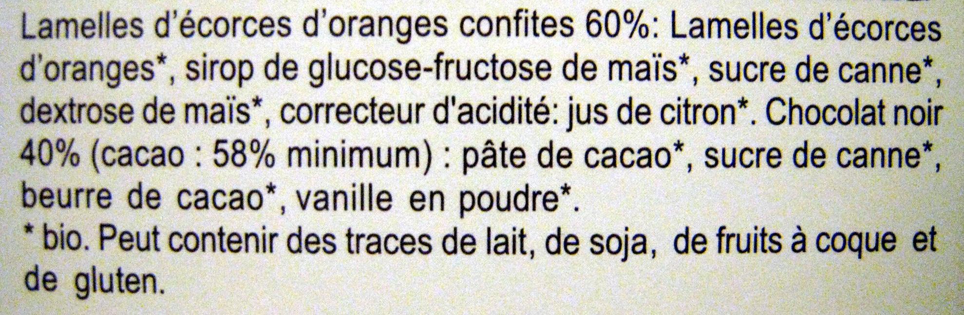 Orangettes Chocolat noir - Ingredients