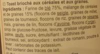 Toast brioché recette gourmande 10 céréales et graines - Ingrédients