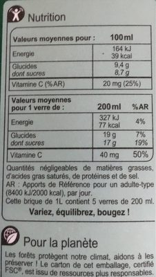 Orange Sans Pulpe, 100 % Pur Fruit Pressé - Informations nutritionnelles