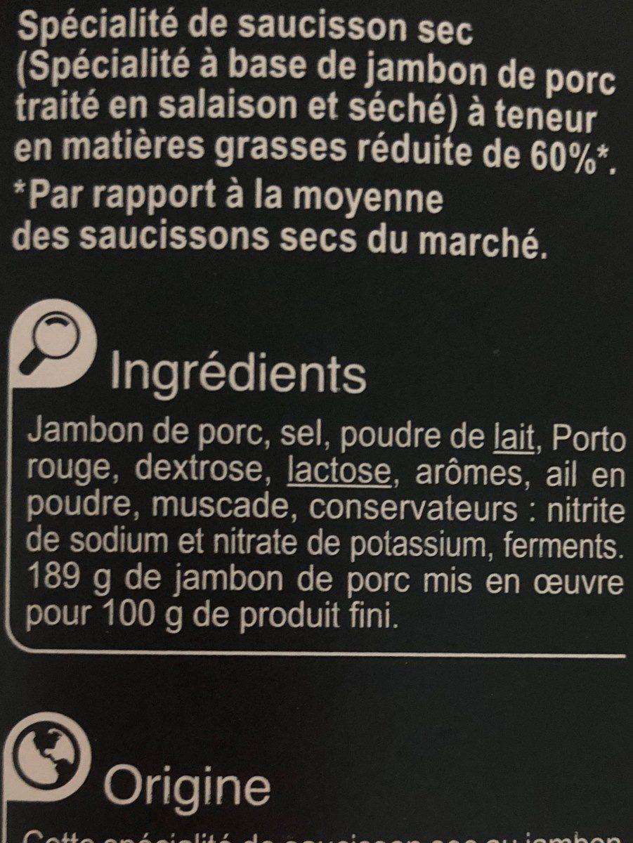 Spécialité de saucisson sec au jambon - Ingrédients - fr