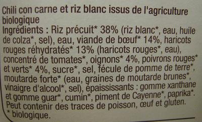 Chili con carne et riz Bio - Ingrédients - fr
